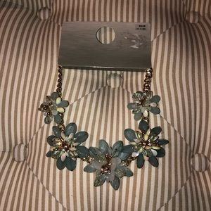 Pale Blue and Gold Floral Necklace